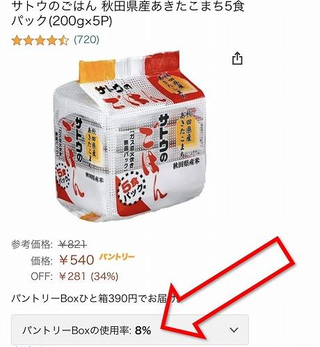 AmazonパントリーのBox使用率